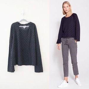 Sundry Synthetic Dot Bell Sleeve Top Washed Black